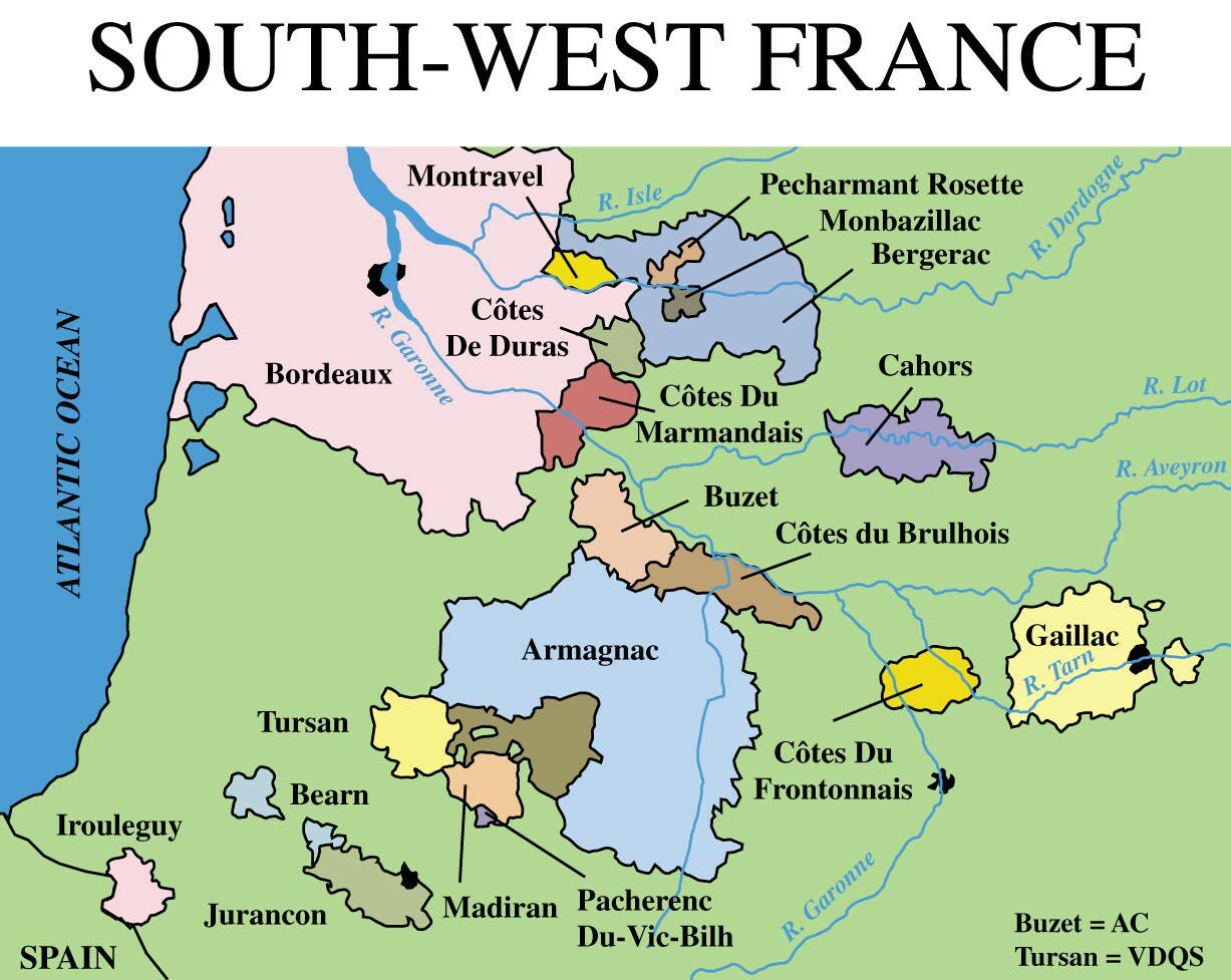Sud-Ouest The Classic Wines of South West France - The ... |Southwest France Map